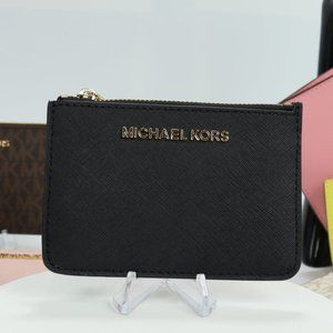 Coin Pouch with ID Holder in Saffiano Black
